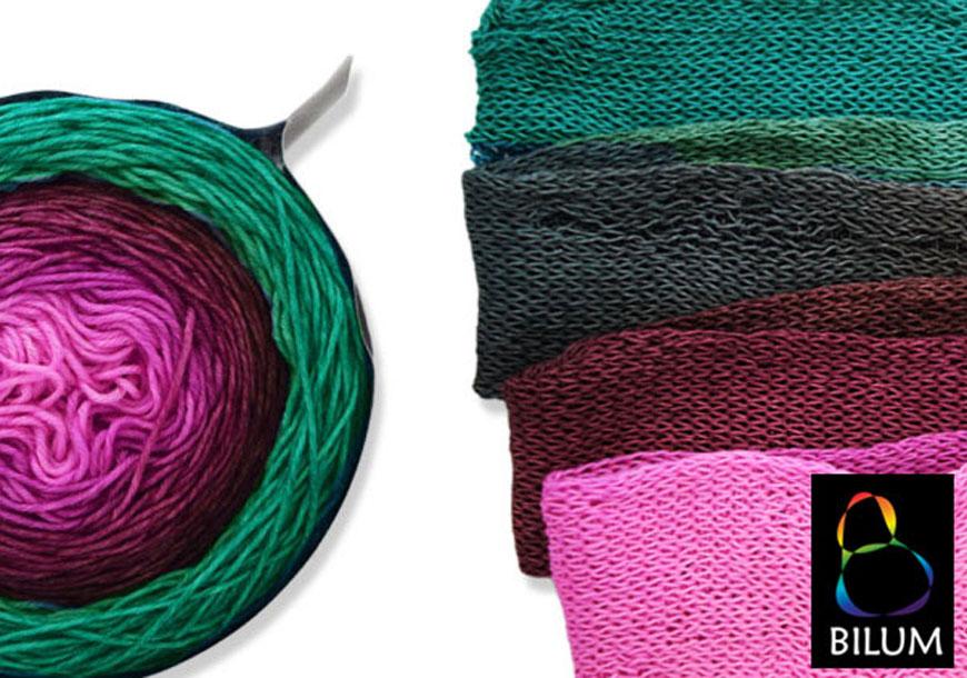 Pennellate di colore in matassa e tubolare